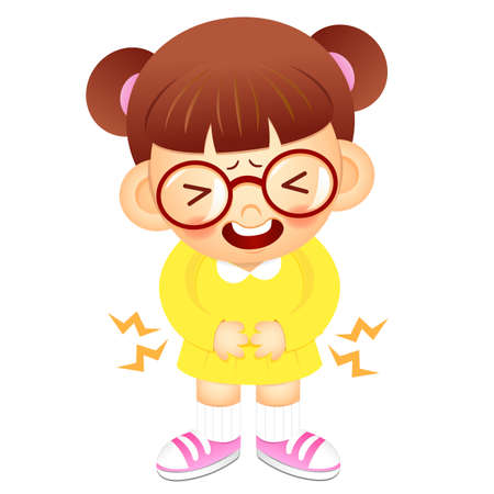 convulsión: Chica es tener un dolor de est�mago. La educaci�n y la serie Dise�o de personajes la vida. Vectores