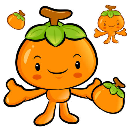 welcomed: The Persimmon mascot has been welcomed with both hands. Fruit Character Design Series.
