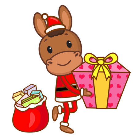 quartet: Horse mascot the hand is holding a Gift Box. Christmas Character Design Series.
