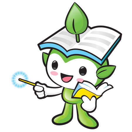 left hand: Environmental mascot the left hand guides and the right hand is holding a book. Nature Fairy Character Design Series. Illustration