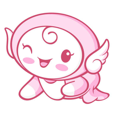 protestantism: The Cherub Mascot is crawling around the room. Angel Character Design Series.