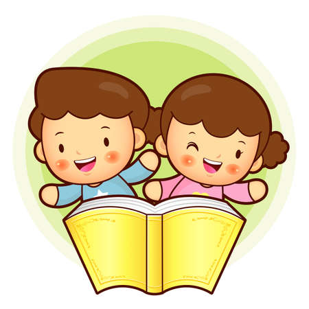 babygirl: Boy and girl is holding a big book. Education and life Character Design series. Illustration