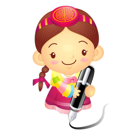 korea girl: The Girl Mascot with a large pen is writing.. Korea Traditional Cultural character design series.