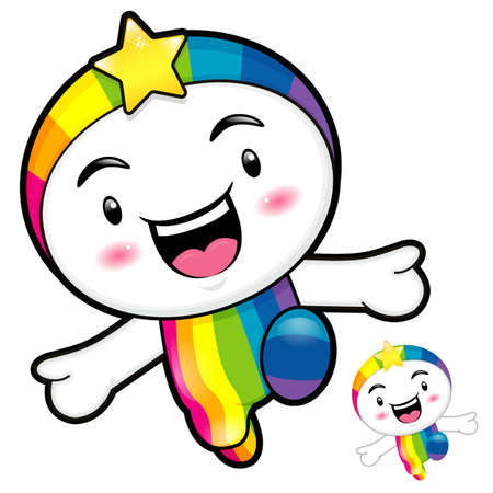 smart goals: Rainbow character on Running. Dream of Fairy Character Design Series.