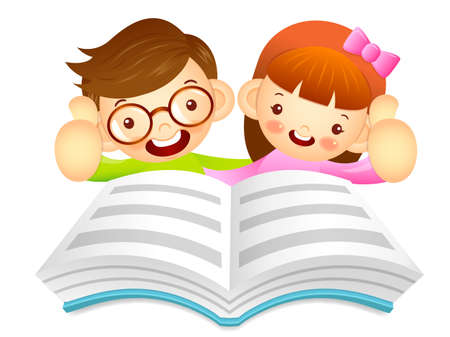 womankind: Boys and girls are reading a large book. Education and life Character Design series.