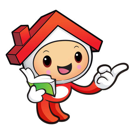 terraced: House mascot the right hand guides and the left hand is holding a book. House and real estate Character Design Series.