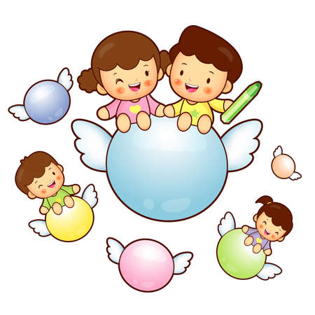 babygirl: Boys and girls are riding a big ball Flying in the sky. Education and life Character Design series.