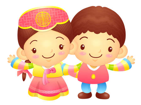 welcomed: The Boy and Girl mascot has been welcomed with both hands. Korea Traditional Cultural character design series. Illustration