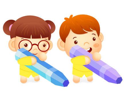 babygirl: Boy and girl is holding a big crayons. Education and life Character Design series. Illustration