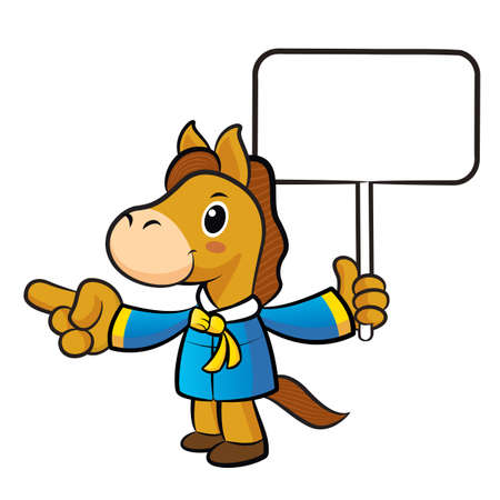 picket: Horse mascot the left hand guides and the right hand is holding a picket. New Year Character Design Series.