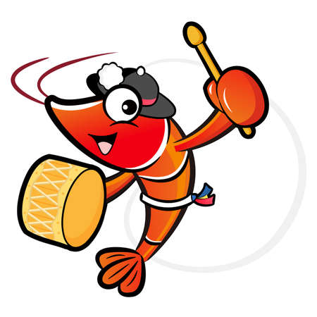 prawn: The Shrimp mascot playing the traditional music of Korea. Prawn Character Design Series.