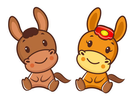 polite: Korea Traditional Horse Mascot couple is a polite greeting. New Year Character Design Series.