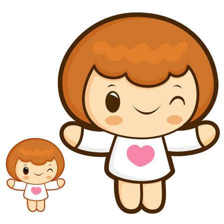 polite: Cherub Mascot is a polite greeting. Angel Character Design Series.