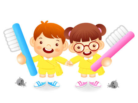 babygirl: Boy and girl is holding a big toothbrush. Education and life Character Design series.