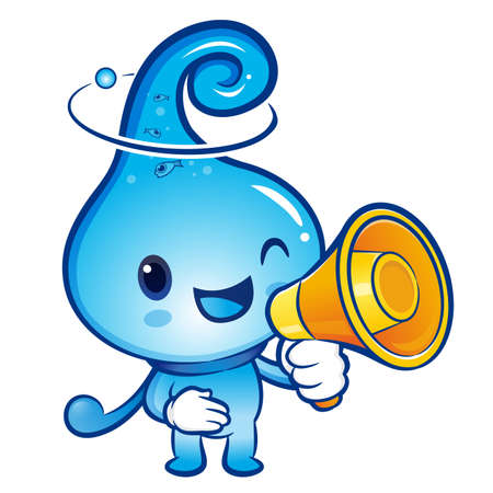 billow: Water drop Mascot the hand is holding a loudspeaker. Nature Character Design Series.