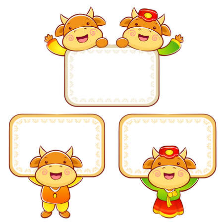 bullock: The Bull and Cow mascot holding a big board. Korea Traditional Cultural character design series.