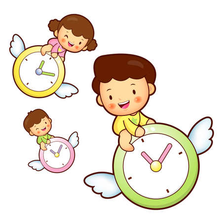 babygirl: Boy and girl is riding a big watch Flying in the sky. Education and life Character Design series.