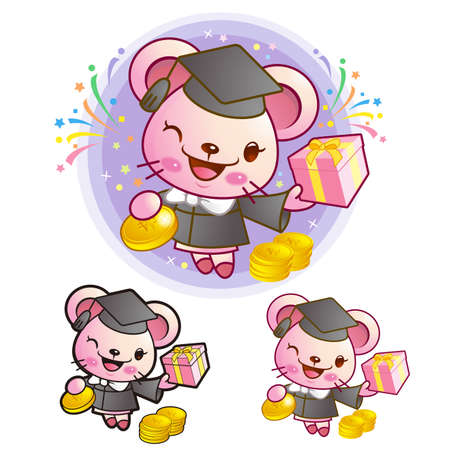 life event: Graduation related event Mouse Mascot. Education and life Character Design series.