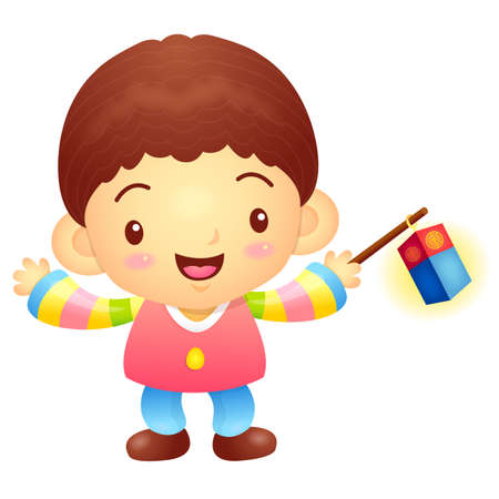 hanbok: The boy Mascot is holding a lantern Building. Korea Traditional Cultural character design series.