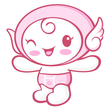 protestantism: Flexibility as possible a sets of Cherub Mascot. Angel Character Design Series.