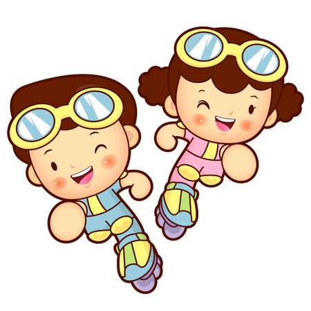 womankind: Boy and girl is playing skate. Education and life Character Design series.