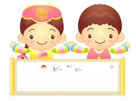 korea girl: The Boy and Girl mascot holding a big board. Korea Traditional Cultural character design series.