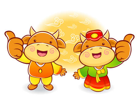 bullock: Bull and Cow Mascot the hand best gesture. Korea Traditional Cultural character design series.