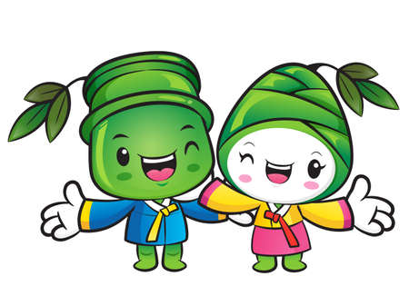 plantlife: Bamboo and Bamboo shoot mascot Suggests the direction. Nature Character Design Series. Illustration