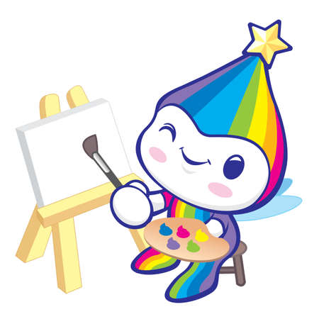 smart goals: The Rainbow Mascot is happy painting. Dream of Fairy Character Design Series.
