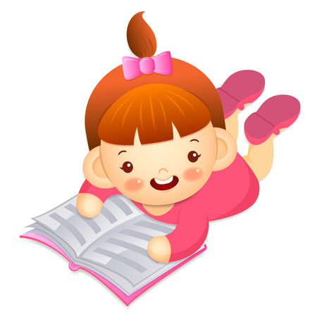 babygirl: Girl is reading a big book lying face down. Education and life Character Design series.