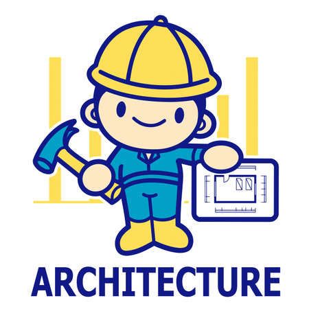 urban planning: Department of Construction Engineering Mascot. Education and life Character Design series.