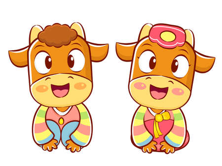 hanbok: Bull and Cow Mascot is a polite greeting. Korea Traditional Cultural character design series.
