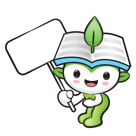 hygienist: The Environmental mascot holding a board. Nature Fairy Character Design Series. Illustration