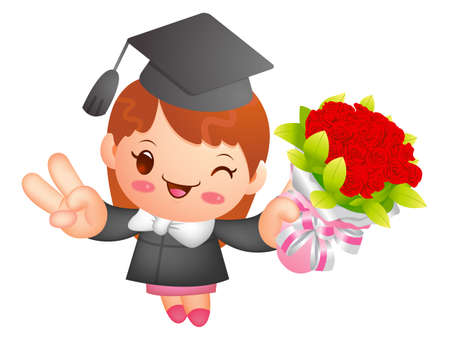 life event: Graduation related event Mascot. Education and life Character Design series. Illustration
