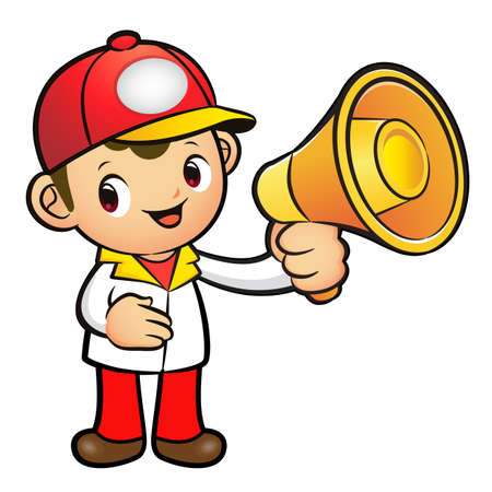 redcap: Red Delivery Man Mascot the hand is holding a loudspeaker. Product and Distribution System Character Design Series.