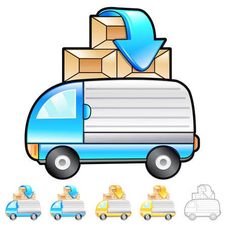 package deliverer: Gathering of goods Illustration. Product and Distribution System Design Series.