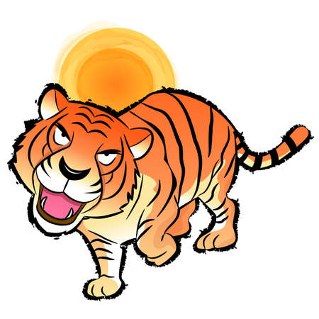 hanbok: Flexibility as possible a Tiger Mascot. Korea Traditional Cultural character design series.