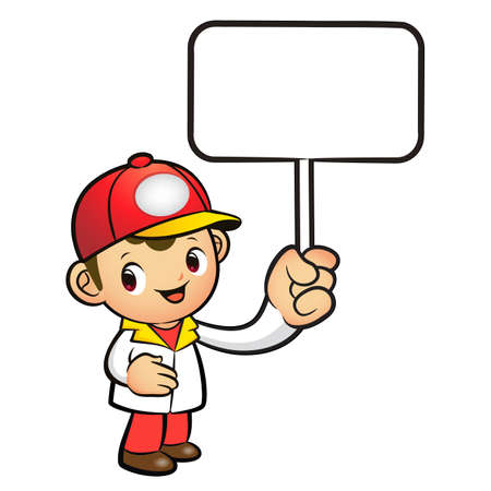 distribution board: The Red Delivery Man mascot holding a board. Product and Distribution System Character Design Series.