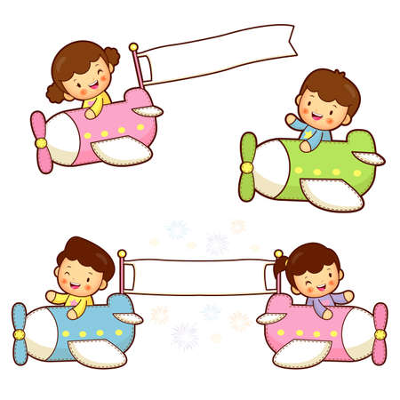 cuddle: Brother and sister playing in the airplane. Home and Family Character Design Series.