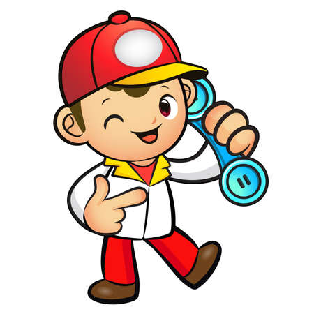 package deliverer: Red Delivery Man Mascot To answer a phone call orders. Product and Distribution System Character Design Series.