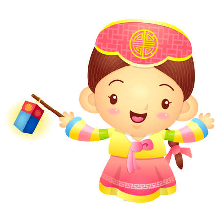 korea girl: The Girl Mascot is holding a lantern Building. Korea Traditional Cultural character design series.