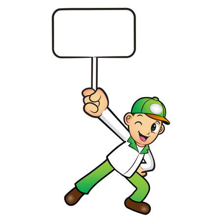 distribution board: The Green Delivery Man mascot holding a board. Product and Distribution System Character Design Series.