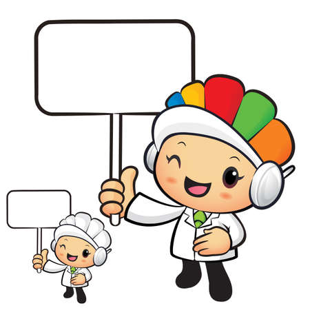 hygienist: Clinical Dietitian Mascot the hand is holding a picket. Work and Job Character Design Series. Illustration