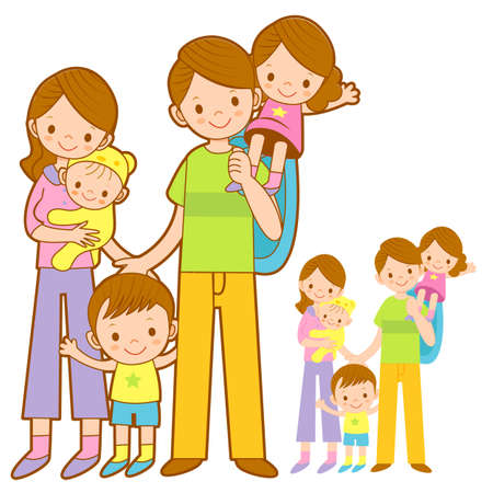 domesticity: Mother and Father husband holding the children. Home and Family Character Design Series.