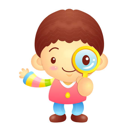 hanbok: Boys mascot examine a with a magnifying glass. Korea Traditional Cultural character design series.