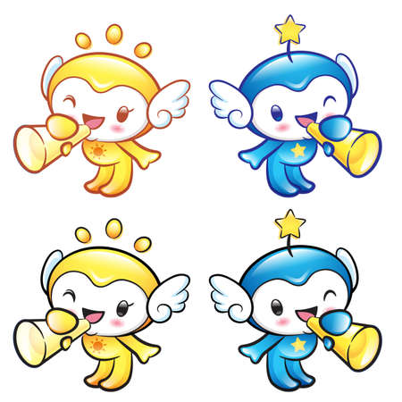 star mascot: Sun and Star Mascot the hand is holding a loudspeaker. Nature Character Design Series.