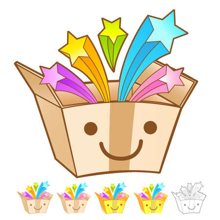 package deliverer: Various styles of Delivery Box Mascot Sets. Product and Distribution System Design Series. Illustration