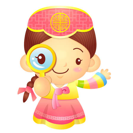 korea girl: Girl mascot examine a with a magnifying glass. Korea Traditional Cultural character design series.