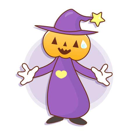 welcomed: Pumpkin Wizard mascot has been welcomed with both hands. Work and Job Character Design Series.