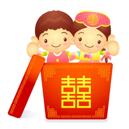 korea girl: A boy and a girl character in a big box. Korea Traditional Cultural character design series.